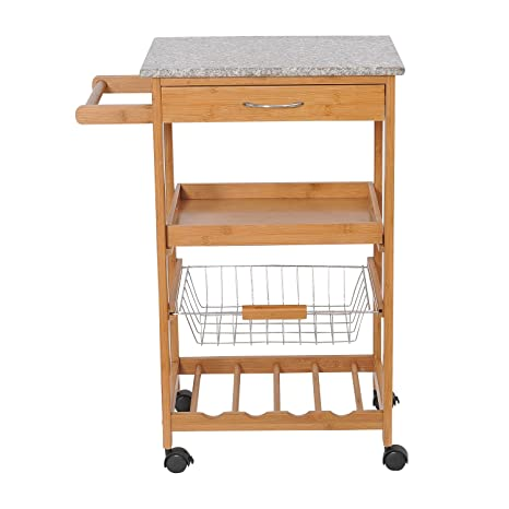 granite top kitchen cart moen faucet pull out homcom 78 74 厘米厨房岛滚动收纳车 带花岗岩顶和花式 架 家居装修 亚马逊中国