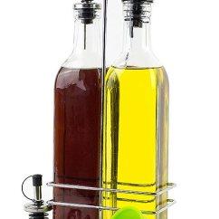 Oil Dispenser Kitchen White Farmhouse Sink 橄榄油分配器 橄榄油和醋瓶套装 不锈钢杯架内2 瓶玻璃瓶 17oz 橄榄