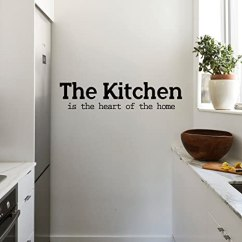 Kitchen Wall Art Island With Butcher Block Top 乙烯基墙艺术贴花 The Is Heart Of Home 12 7 厘米x