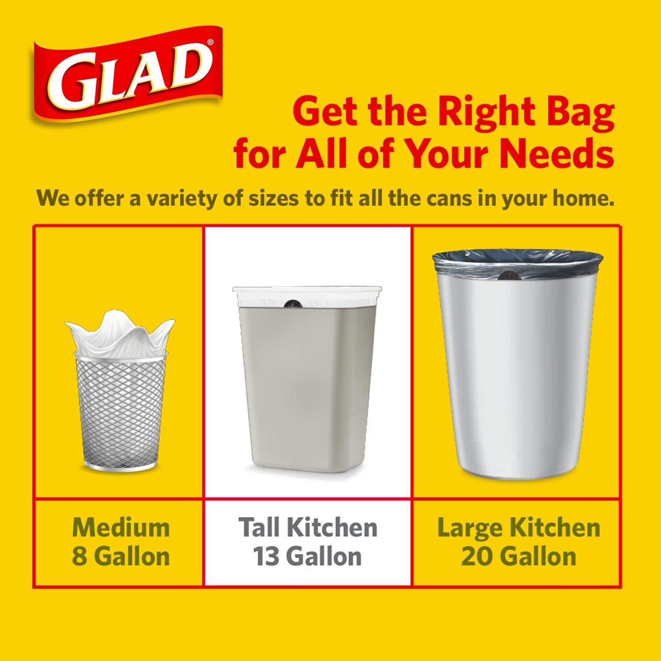13 gallon kitchen trash can small island ideas with seating 佳能 glad 加长型穿绳厨房垃圾袋 加仑 90 个 个护健康 亚马逊中国 13加仑厨房垃圾桶