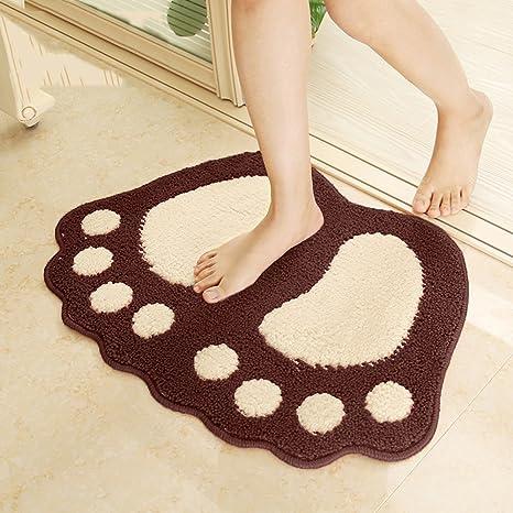 kitchen rugs amazon aid electric kettle yoh 柔软防滑脚形浴室垫 可爱室内门垫厨房小地毯吸水垫可爱的脚形门垫 可爱室内门垫厨房小地毯吸水