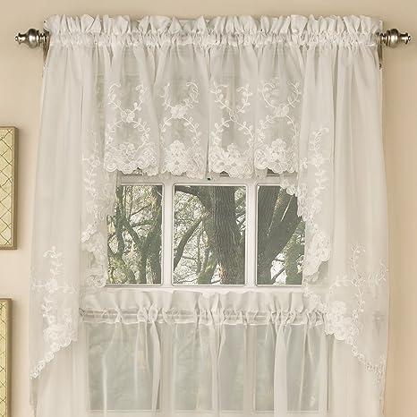 blue kitchen valance valances sweet home 系列选择层帷幔厨房窗帘embroidered ivory swag lhf 6705