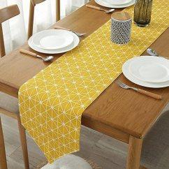 Kitchen Linens Cabinet Packages Colorbird 灰色 章桌布棉质亚麻布厨房餐厅客厅桌布装饰黄色12 X 86 Inch