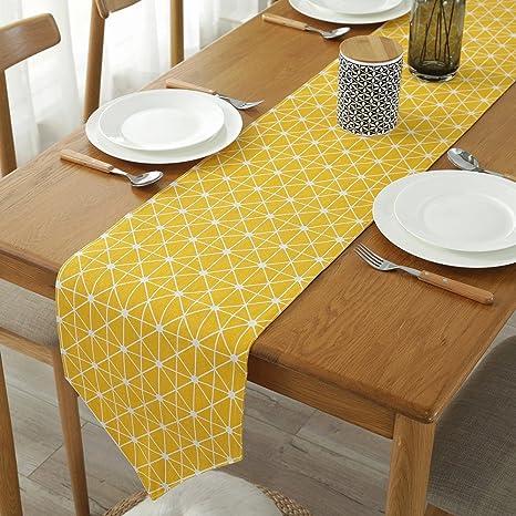 kitchen linens work table colorbird 灰色 章桌布棉质亚麻布厨房餐厅客厅桌布装饰黄色12 x 86 inch