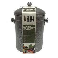 Compost Bin For Kitchen Yellow Towels Cedar Grove 粉末涂层铁钢厨房堆肥箱1 3 加仑 带炭过滤盖 带炭过滤