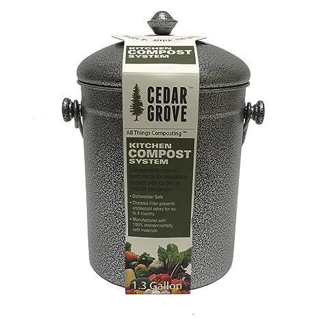 kitchen compost container 36 inch round table cedar grove 粉末涂层铁钢厨房堆肥箱1 3 加仑 带炭过滤盖 带炭过滤
