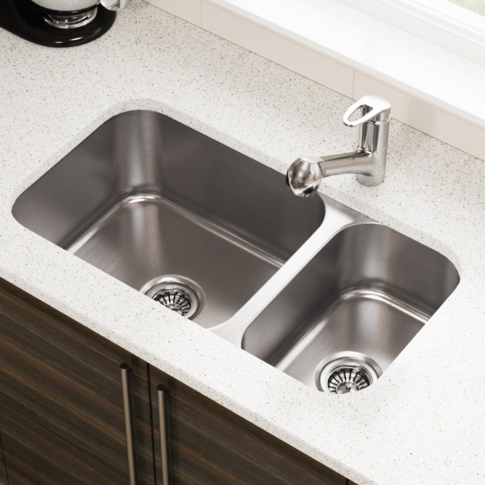 kitchen sink at lowes marble table for sale mr direct 3218b undermount 偏移双碗不锈钢厨房水槽 家居装修 亚马逊中国 在lowes的厨房水槽