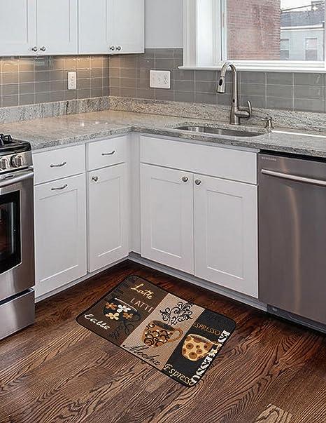 kitchen rugs amazon touch faucet reviews 海绵厨房脚垫 挂毯设计 抗 防滑45 7 x 71 1 cm 厨房地毯 地垫奶茶