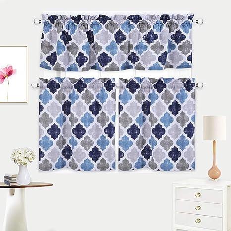 cafe kitchen curtains sensor faucet haperlare 3 件套摩洛哥厨房窗帘层和帷幔套装 格子棉混纺咖啡厅浴室窗帘 格子棉混纺咖啡