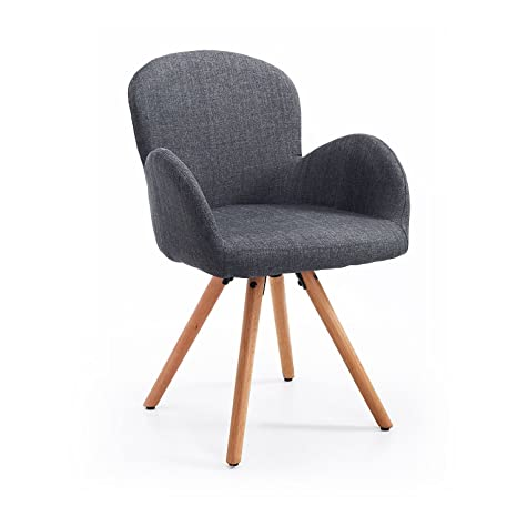 gray kitchen chairs narrow table homcom 餐厅椅子客厅椅子扶手椅单人沙发厨房椅子亚麻木质灰色l55 x w53 餐厅椅子客厅椅子扶手椅单人沙发厨房椅子亚麻木质灰色