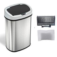 13 Gallon Kitchen Trash Can Industrial Looking Ideas Itouchless 加仑不锈钢自动垃圾桶 带异味控制系统 大盖开口传感器无 大盖开口