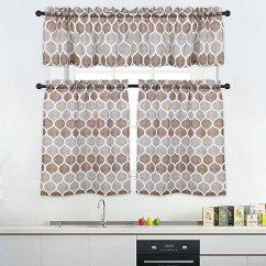 Cafe Kitchen Curtains Best Lighting Haperlare 3 件套摩洛哥厨房窗帘套装 咖啡厅浴室 格子花纹设计客厅窗帘 格子花纹设计