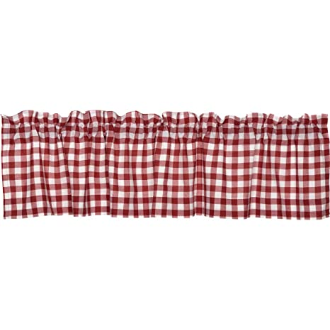 red kitchen valance professional home appliances classic country farmhouse 厨房窗帘 水牛红色方格红色帷幔 vhc brands