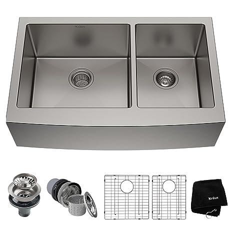 kitchen sink 33 x 22 refurbished table 美国kraus 克劳思1 5mm厚304不锈钢拉丝双盆厨房水槽手工制作台下式安装 5mm厚304不锈钢拉丝双盆厨房水槽手工