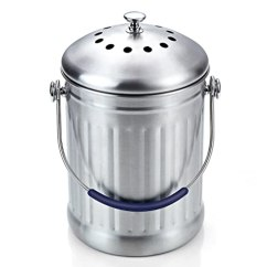 Compost Bin For Kitchen Stainless Steel Island Cart Cook N Home 29 57 升不锈钢厨房堆肥箱带炭滤芯 厨具 亚马逊中国 海外购
