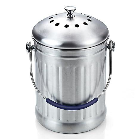 compost bin for kitchen pop up electrical outlets islands cook n home 29 57 升不锈钢厨房堆肥箱带炭滤芯 厨具 亚马逊中国 海外购