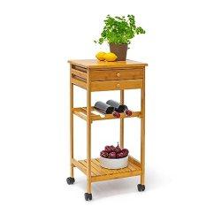 Kitchen Cart With Drawers Tall Table And Chairs Relaxdays James 厨房车 竹制厨房用推车 带2 个抽屉和架子轮式厨房推车 个抽屉