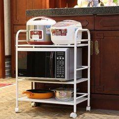 Metal Kitchen Shelves Table Legs 金属厨房置物架落地火锅架浴室收纳微波炉烤箱架 三层60 32 75 亚马逊 亚马逊中国 家居
