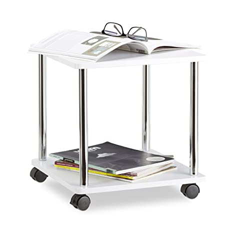 kitchen cart table vans relaxdays 木制侧桌 4脚轮多功能车 小型咖啡桌和厨房用推车 方形 高 小型咖啡桌和