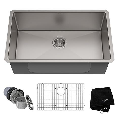 kraus kitchen faucet towel sets 美国kraus 克劳思1 5mm厚304不锈钢拉丝单盆厨房水槽手工制作台下式安装 5mm厚304不锈钢拉丝单盆厨房水槽手工