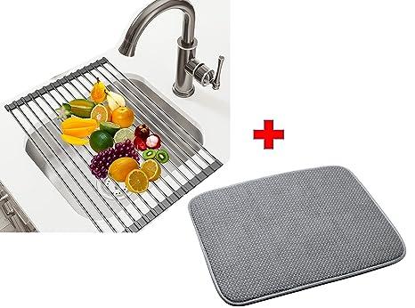 kitchen dish drying mat pendant lights for island 可折叠式洗碗架 超细纤维干燥垫 佳硅胶不锈钢卷起水槽折叠排水器可 佳硅胶