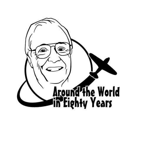 Logo for my dad's World Travel Themed 80th Birthday Party