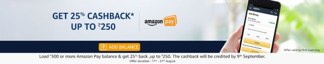 Get 25% cashback up to Rs 250