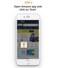 Open Amazon app and click on Scan