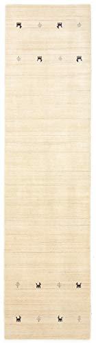 CarpetFine: Tappeto Gabbeh Uni Passatoia 75x240 cm Bianco - Monocromatico