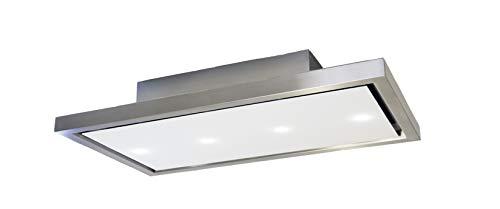 Cappa da soffitto extra large 120 cm, aspirazione periferica vetro bianco, LED, 800 m3/h, 60/66 db,...