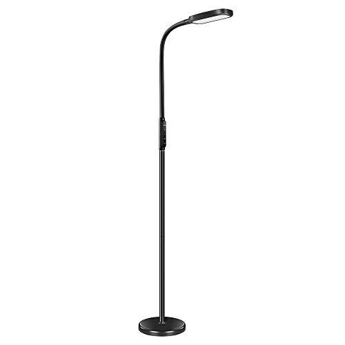 Miroco Dimmbare LED-Stehleuchte 5 Helligkeitsstufen und 3 Farben, Touch-Bedienung,1800 Lumen, 12 W Bodenlampe mit Flexibler Schwanenhals-Lesefunktion für Wohnzimmer, Büro, Bibliothek