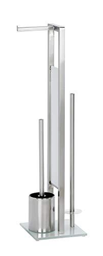 WENKO 21564100 Stand WC-Garnitur Rivalta Matt - WC-Bürstenhalter, Edelstahl rostfrei, 18 x 70 x 23 cm, Matt