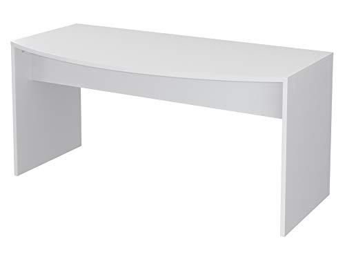 Movian, scrivania curva in stile moderno, modello Belaya, 80 x 160 x 75 cm, colore bianco