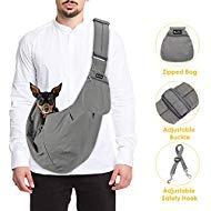 SlowTon Haustier-Tragetasche, für Hunde und Katzen, mit Schultergurt, verstellbar, gepolstert, Schultergurt, mit Fronttasche, Sicherheitsgurt, für Outdoor-Reisen, Welpen, für Hunde und Katzen, grau