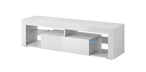 E-Com - Mobile TV Titan con LED, 140 cm, Colore: Bianco