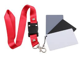 3 in 1 Pocket-Size Digital White Black Grey Balance Cards 18% Gray Card with Neck Strap for Digital Photography