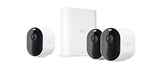 Arlo Pro 3 VMS4340P Sistema di Videosorveglianza WiFi con 3 Telecamere Arlo 2K HDR, Audio 2 Vie, Visione Notturna a Colori, Faro e Sirena Integrati, Visione 160°, Interno/Esterno, Bianco