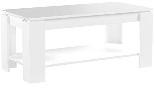 Habitdesign (001639BO) - Mesa de centro elevable con revistero incorporado, color blanco brillo , 100x50x43/54
