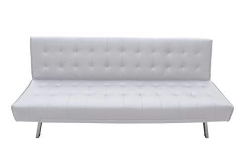 Avanti Trendstore - Pedrilla - Divano Elegante con Funzione Letto, in Similpelle Disponibile in 2 Diversi Colori, Dimensioni: Lap 180x80x77 cm (Bianco)