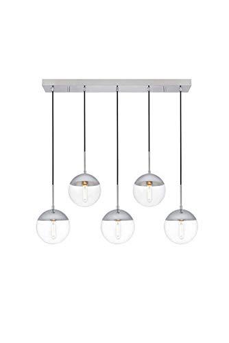 Dst Lampada a sospensione a sfera in vetro trasparente, 1 luce moderna argento cromato finitura,...