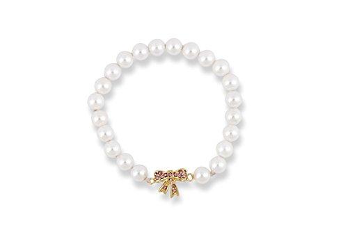 Pulsera de perlas con oro & cristal lazo