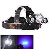 Windfire 3 x LED (1 x T6 LED blanco y 2 x UV LEDS) 4 modos 395 - 410 nm uv-ultraviolet LED Blacklight Tactical faros delanteros recargable, de dinero, cat-dog-pet detector de orina ( pilas incluidas)