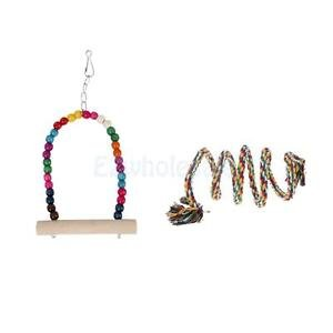 SLB Works Brand New Colorful Parrot Bungee Rope Toy Pet Bird Climbing Standing Perch & Swing Set