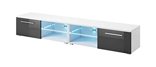e-Com - Mobile da Soggiorno Mobile TV Porta'SAMUEL' Con LED blu- 240 cm (2x 120 cm) - Bianco/Grigio