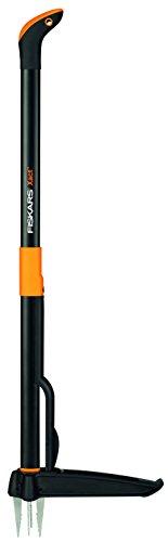 Fiskars Xact Weed Puller, Length: 1 m, Stainless Steel Handle/Plastic Handle, Black/Orange, 1020126