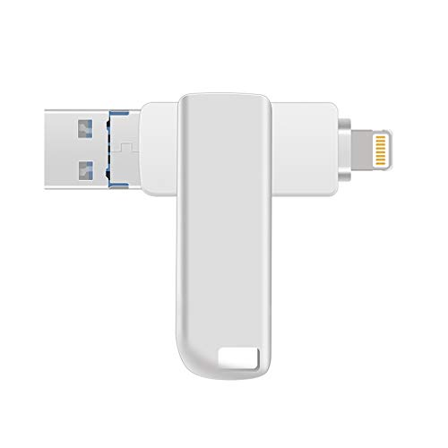Y-Disk USB Flash Drives for iPhone iOS External Storage, USB 3.0 Jump Drive 3-in-1 Memory Storage Pen Drive for iPad,iPhone,Android,PC (256GB)
