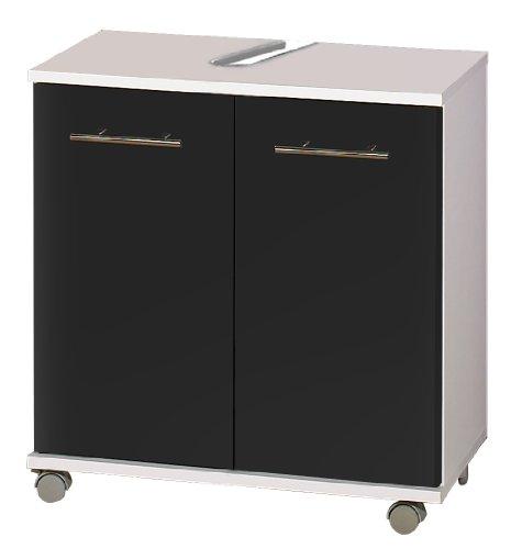 lifestyle4living Beckenunterschrank in glänzendem anthrazit mit Rollen, 2 Türen und 1 Einlegeboden, Maße: B/H/T ca. 60/63,5/32,5 cm
