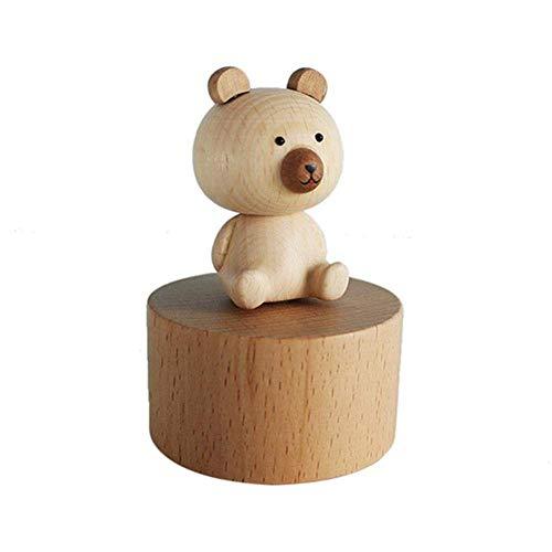 FOONEE Handmade Wooden Music Box, Mini Hand Carving Animal Musical Box Crafts for Children's Day/Kids Birthday, Best Gift for Children/Boys/Girls, Wood Color Bear - Castle in The Sky