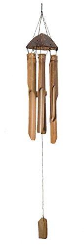 ROMBOL Windspiel Bambus, 30 cm, toller Klang, dekorativ für Garten und Balkon