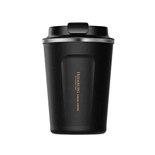 Heemburg Kaffeebecher für unterwegs Coffee to go Thermobecher schwarz 380 ml aus Edelstahl mit Doppelwand Isolierung 100{f83dc1cedd27df3ac259a63c26ea7a8f0add296c56ea85d366aa95161b52b82d} auslaufsicher Thermo für Kaffee oder Tee (Schwarz, 380ml)